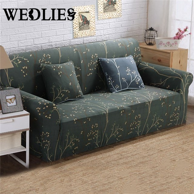 Summer Flower Printed Sectional Couch Covers Solid Plush Sofa Cover Elastic Comfortable Slipcover Two