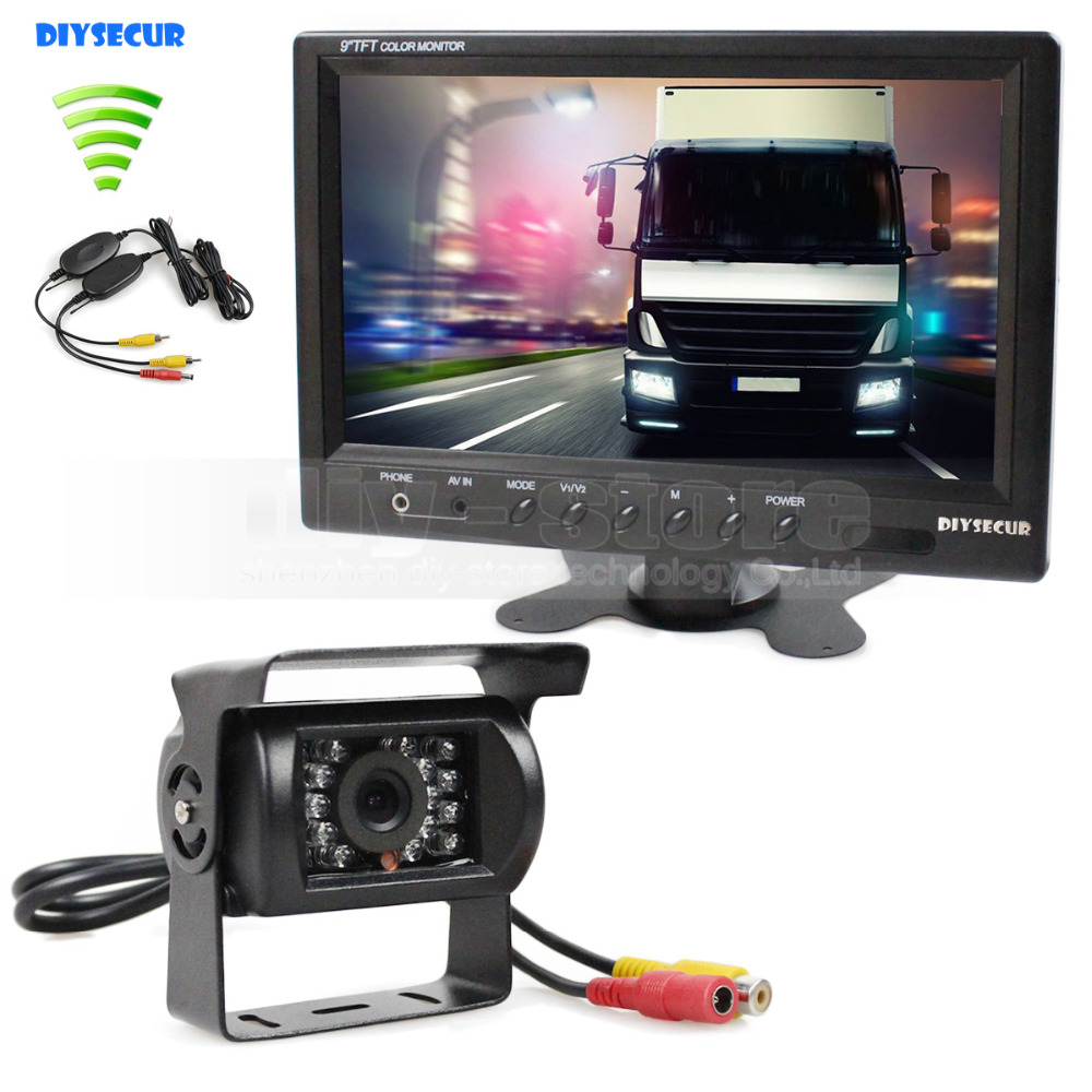 DIYSECUR Wireless 12V DC 9inch LCD Display Rear View Car Monitor Waterproof CCD Reverse Backup Car Truck Camera IR Night Vision