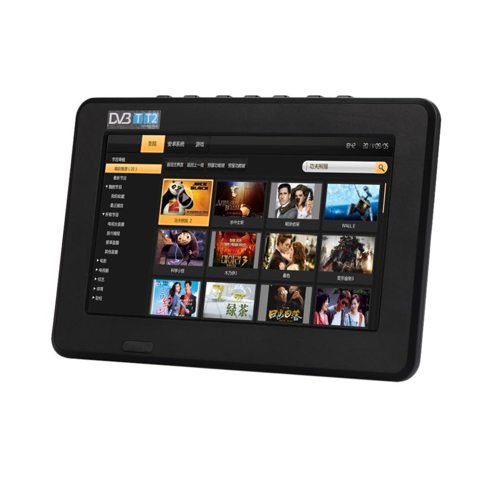 2018 offre spéciale 7 pouces haute résolution TV couleur TFT LED DVB-T-T2 numérique analogique télévision Rechargeable 800x480 Portable TV