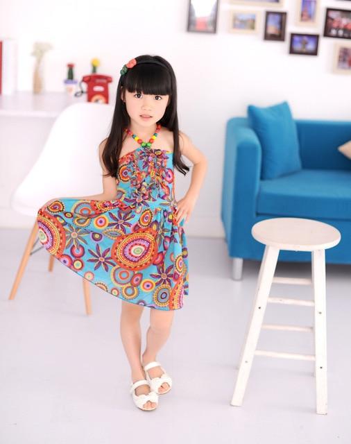 New fashion 2013 lovely  girl flower printing beach dress
