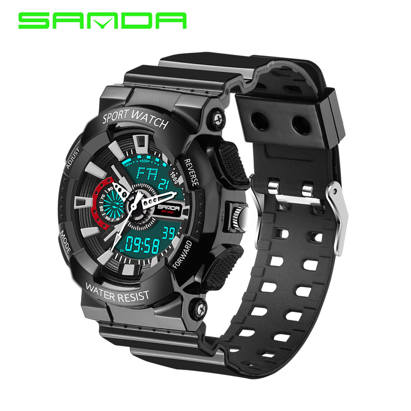 Image 2 - 2016 New Arrival SANDAL G style Quartz Digital Dual Time Watches Men Fashion Man Sports Watches Luxury Brand Military Army Reloj-in Quartz Watches from Watches on AliExpress