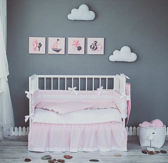 5 Pieces Set Pink White Crib Bedding Baby Sweet Nursery Per Quilt