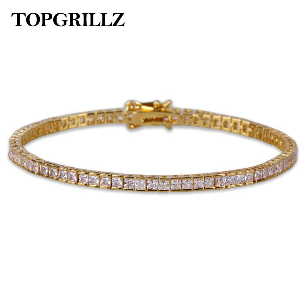 TOPGRILLZ Gold&Silver Hip Hop Tennis Chain Bracelet Micro Pave CZ Stone Box Chain All Iced Out 1 Row Bracelets For Men and Women