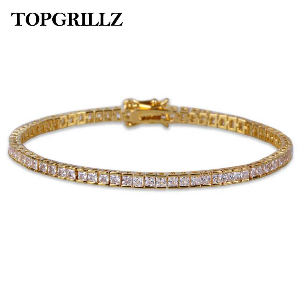 3a18528cd7887 4mm Width Mens Women Charm Tennis Bracelet Jewelry Full Iced Out AAA+ Bling  Cubic Zirconia Hip Hop Gold Silver Color Jewelry