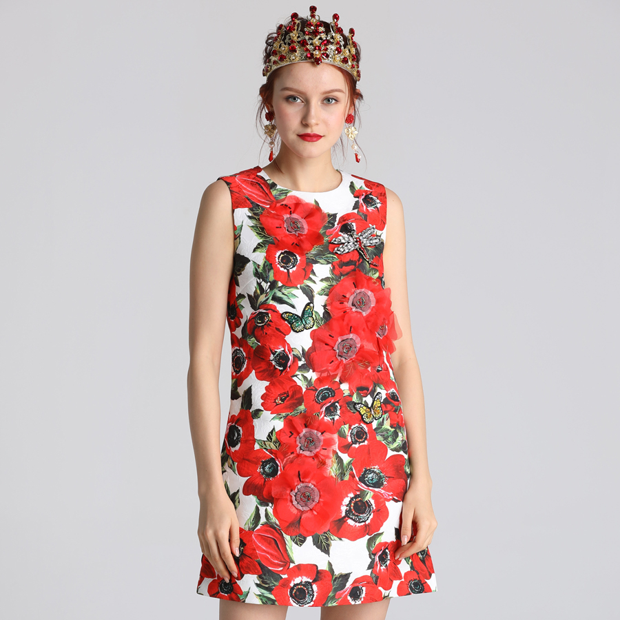 Red RoosaRosee New 2019 Summer Dress Women flower Print Nature Waistline O neck Above Knee Clothes