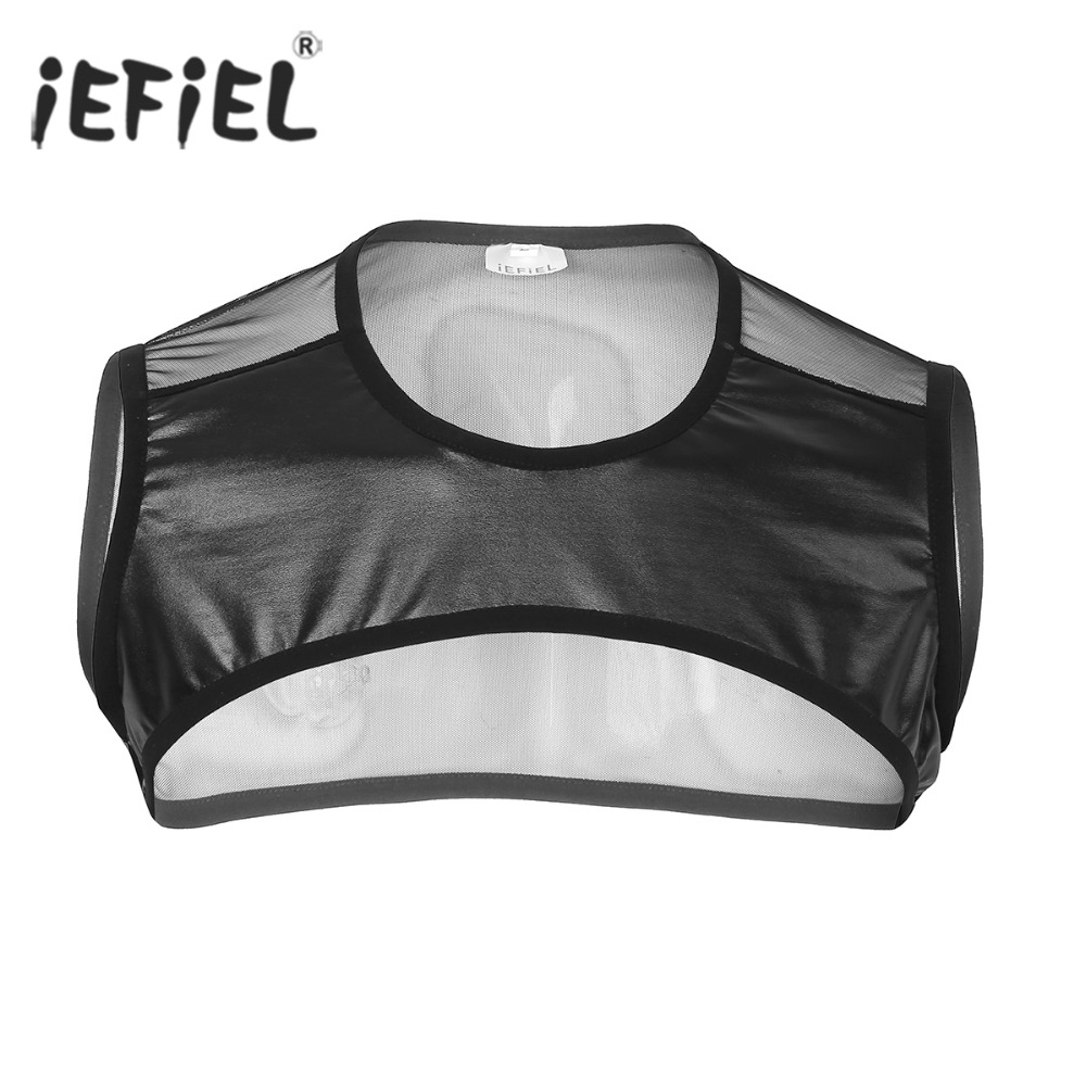 Mens Faux Leather Patchwork Sleeveless Sheer Mesh Muscle Half   Tank     Top   Vest Harness Clubwear Stage Performance Costume Crop   Tops