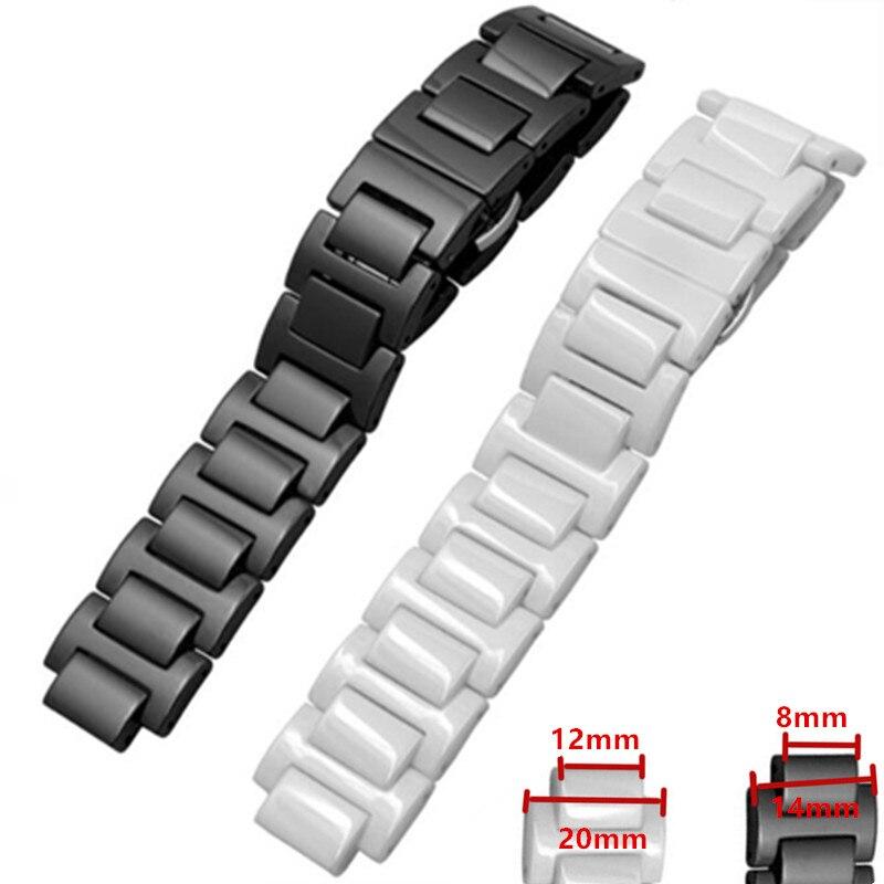 Nouveau HQ bracelet de montre en céramique 14*8/20*12mm bracelet de montre ceinture noir avec boucle de fermoir pliable pour la série Ballon Bleu