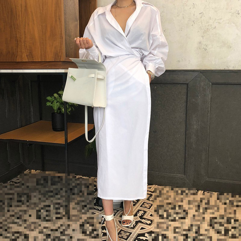 CHICEVER Solid High Waist Lace Up Dress For Women Hem Split Lantern Sleeve Slim Summer Dresses Female Clothes Fashion Korean New 4