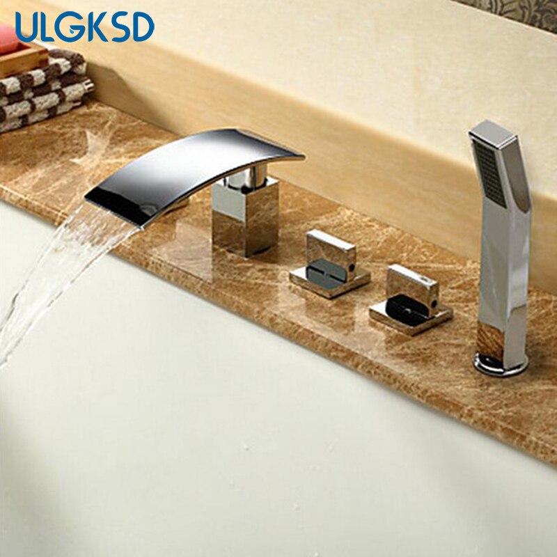 Ulgksd 5 шт. смеситель для ванной Водопад Носик холодной и горячей воды смесители ванная душ кран ж/ручной душ