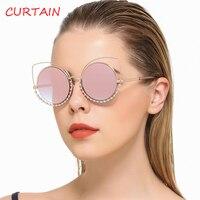 Fashion Sexy Cat Eye Sunglasses Women Oversize Mirror Imitation Diamond Decoration Glasses Cateye Female UV400