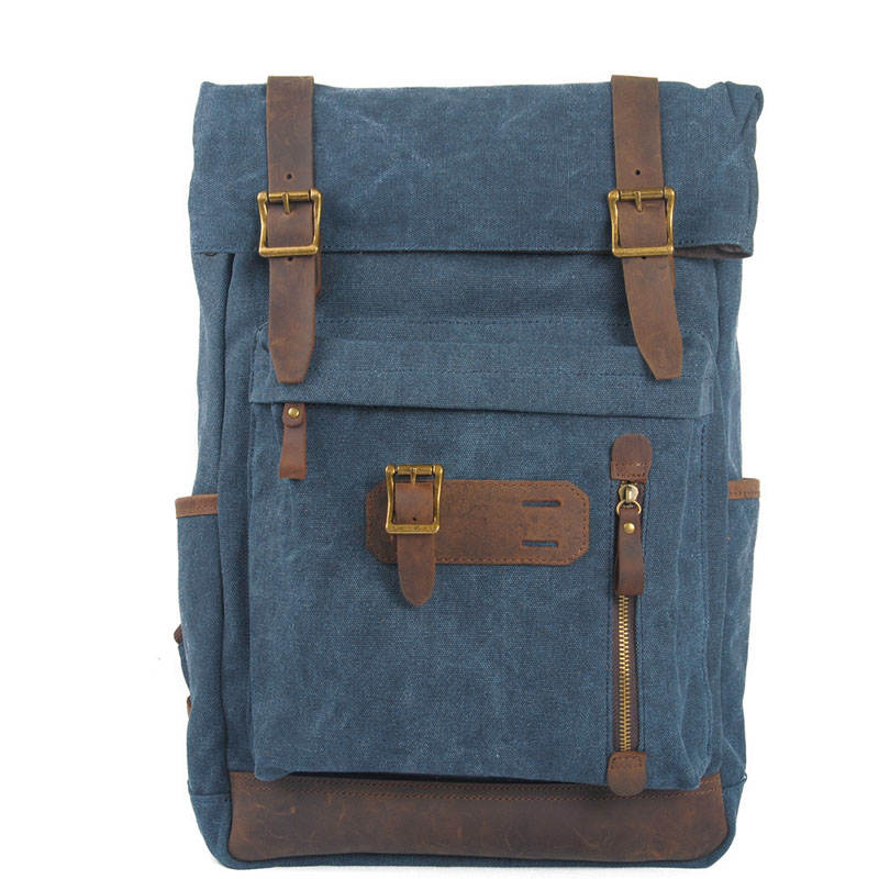 AETOO new winter - retro cotton canvas bags with head layer crazy horse leather backpack shoulder bag men and women