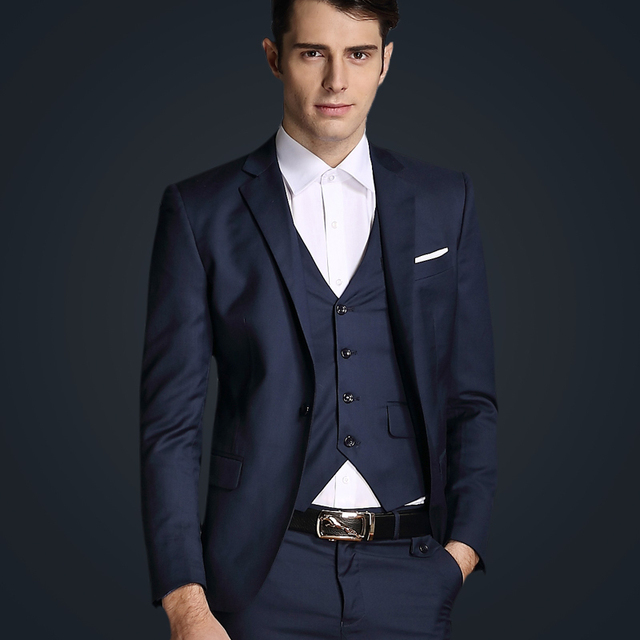 139cfcd29f9 New 2015 Luxury Mens Wedding Suits Contain Blazer+Pants+Vests 3 Piece Suits  Men Business Party Red Pant Suits 7Color