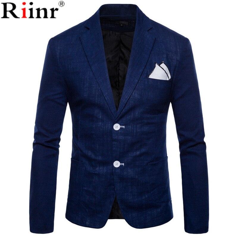Riinr חדש מכירה לוהטת מותג בגדי חליפת גברים בלייזר אופנה מוצק צבע כותנה Slim Fit בלייזר Masculino מזדמן זכר חליפות מעיל