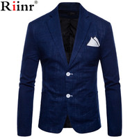 Riinr New Hot Sale Brand Clothing Suit Men Blazer Fashion Solid Color Cotton Slim Fit Blazer Masculino Casual Male Suits Jacket