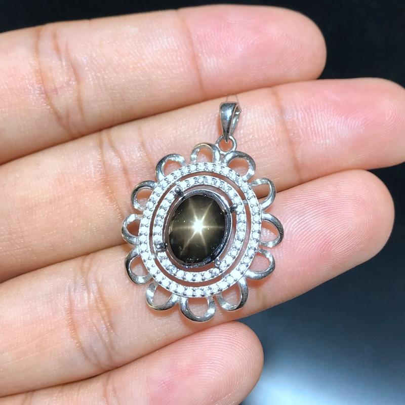 Uloveido naturalny szafir ślub wisiorek kobiety 925 Sterling Silver kamień rocznica Starlight naszyjnik wisiorek FN311 w Naszyjniki od Biżuteria i akcesoria na  Grupa 1