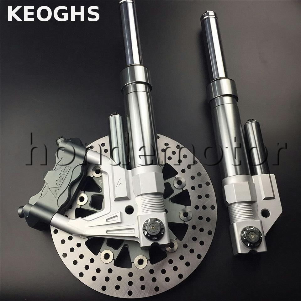 KEOGHS Motorcycle Front Shock Absorber Damping Suspension Fork 2.4mpa Nitrogen And Brake System For Yamaha Scooter Bws Refit motorcycle after the shock absorption adjustable damping and nitrogen shock absorber a pair