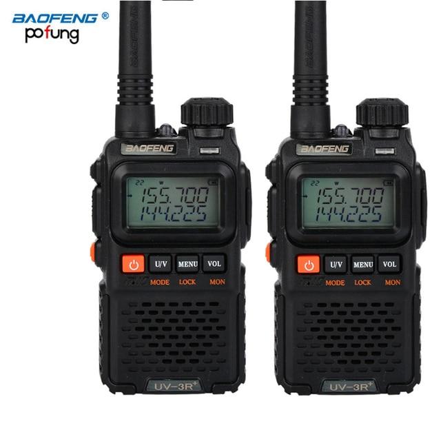 2 PCS Baofeng UV 3R Plus Mini Walkie Talkie Schinken Zwei Way VHF UHF Radio Station Transceiver Boafeng Scanner Tragbare Walkie Talkie