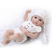 Full Vinyl Soft Reborn Baby Dolls 10 inch Mini Size Bath Doll Play Doll Toy in Woven Woolen Clothes