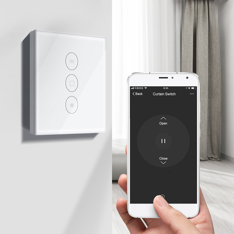 EU Wifi touch curtain switch wall switch voice control by Alexa / Google phone control For Electric curtain motor smart home
