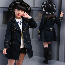 Girls Trench Coat Autumn 2016 Children Long Coat Kids Blazer Cotton Outerwear Jackets Teenage Girls Clothing Fashion Outwear
