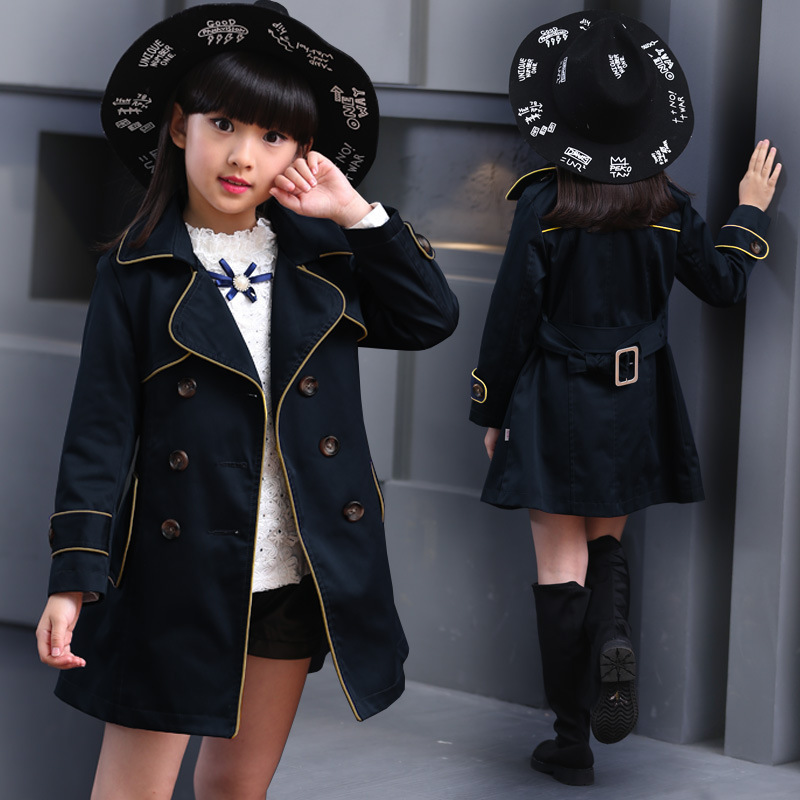 Girls Trench Coat Autumn 2017 Children Long Coat Kids