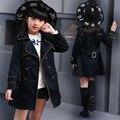 Meninas Trench Coat Outono 2016 Crianças Crianças Casaco Longo Blazer Outerwear Jaquetas de Algodão Adolescente Roupas Meninas Moda Outwear casacos de adolescentes para menina roupas infantis menina jaquetas