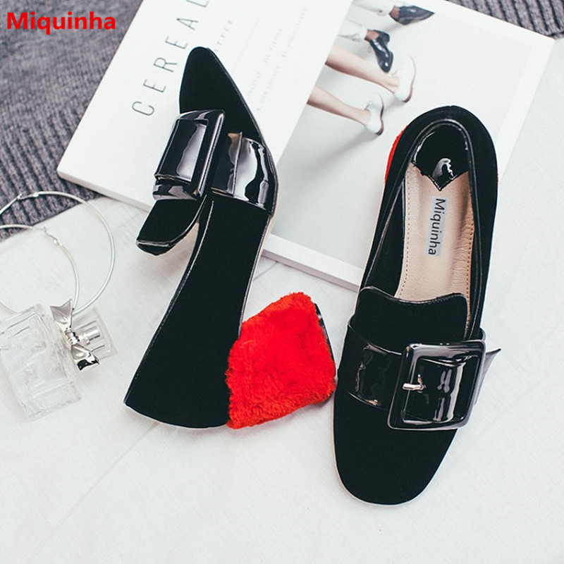 Miquinha Saquare Toe Buckle Design Slip On Black Flock Women Mary Janes Shoes Retro Thick Heel Women Casual Party Sxey Pumps umbra вешалка настенная flip 3