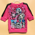 Spring autumn fashion girl half sleeve top lovely girl sweaters red colors good quality