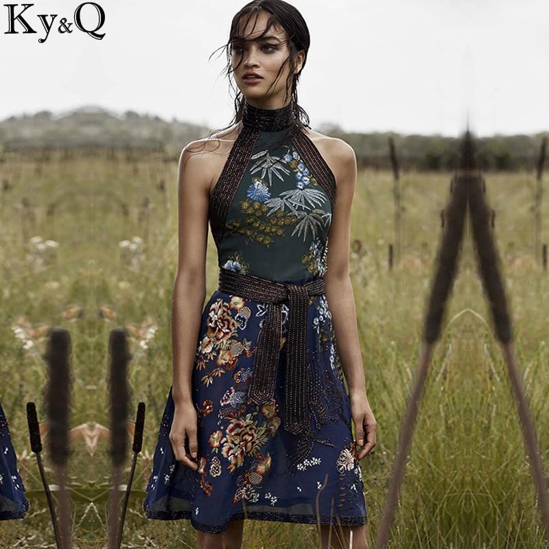 2019 inverno vintage retro em torno do pescoço sarafans sem mangas luxo artesanal bordado floral feminino festa vestido de praia roupas - 4