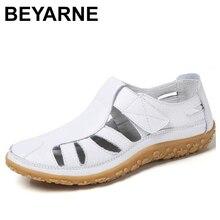 BEYARNEWomen Gladiator Sandals Shoes GenuineLeather Hollowout Flat Sandals Ladies Casual Softbottom Summer ShoesWomenBeachSandal