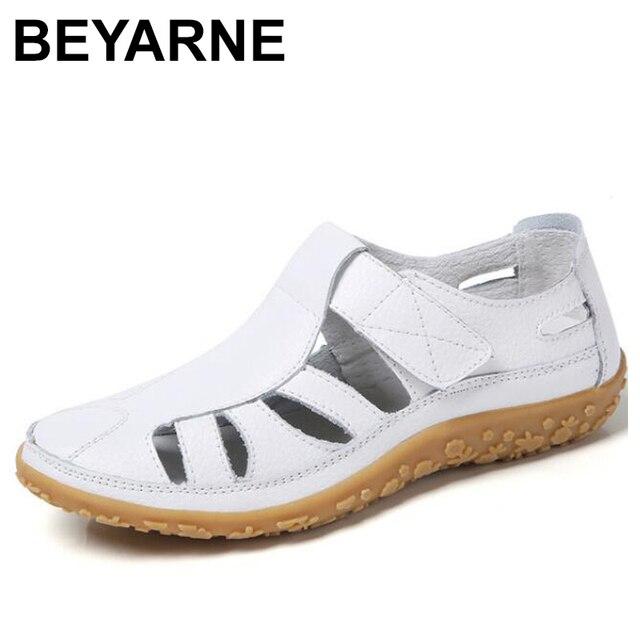BEYARNEWomen gladyatör sandalet ayakkabı hakiki deri oyuk düz sandalet bayanlar rahat Softbottom yaz ShoesWomenBeachSandal