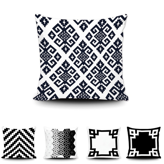 Modern Black White Greek Key Border Cushion Cover Art Abstract Geometric Cotton Throw Pillow Case Creative