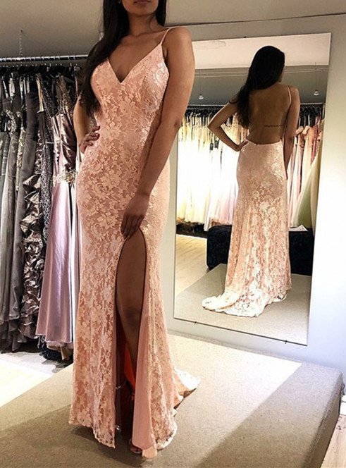 vestido de gala 2019 Sexy Backless   Prom     Dress   Long V-neck High Slit Women Party Evening Gowns