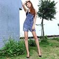 Корейский стиль женщины хлопок ковбой джинсовые комбинезоны способа высокого качества старинные разорвал отбеленные плюс размер свободные шорты дамы G41