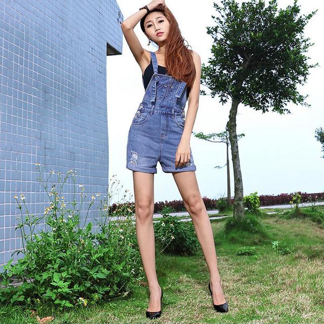 Estilo coreano de las mujeres ripped blanqueado de algodón vaquero overol de mezclilla de alta calidad de la manera de la vendimia más tamaño pantalones cortos sueltos señoras G41