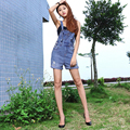 Korean style women cotton cowboy denim overalls high quality fashion vintage ripped bleached plus size loose shorts ladies G41