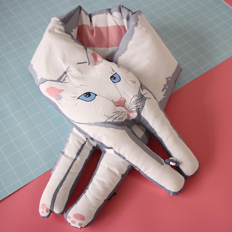 2017 Newest Winter Down Scarf Women Men Neck Crossed Scarfs Cute Cat Panda Print Japanese Style kids scarves Free shipping QR03