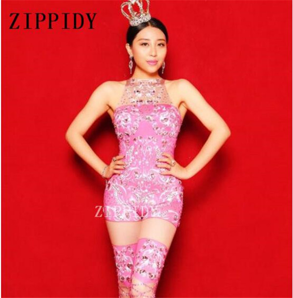 Sexy Sparkly Rhinestones Pink Jumpsuit Costume Female Singer Birthday Celebrate Outfit Bling Design Rompers Dj Performance Wear