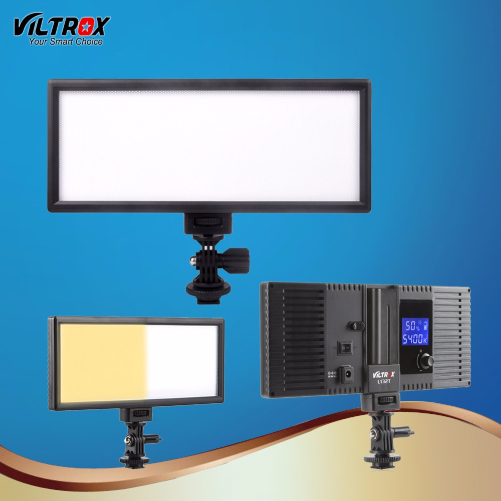 Viltrox L132T LED Video Light Ultra Thin LCD Bi-Color & Dimmable DSLR Studio LED Light Lamp Panel for Camera Photography