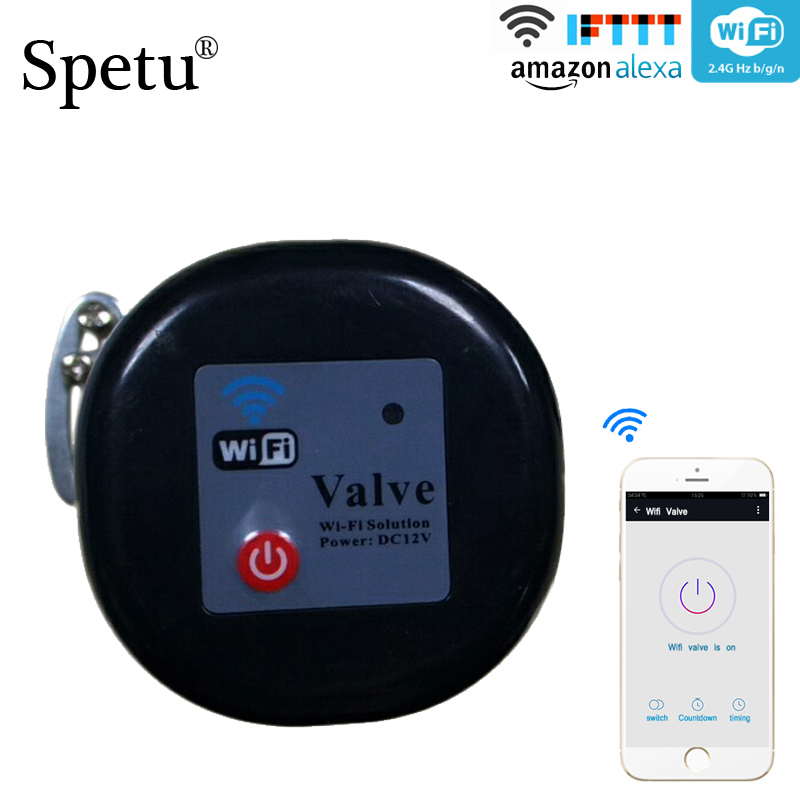 Spetu Wifi Water Valve Smart Home Automation System Valve For Gas Water Control 12V 1A Work With Alexa And Google Assistant Home