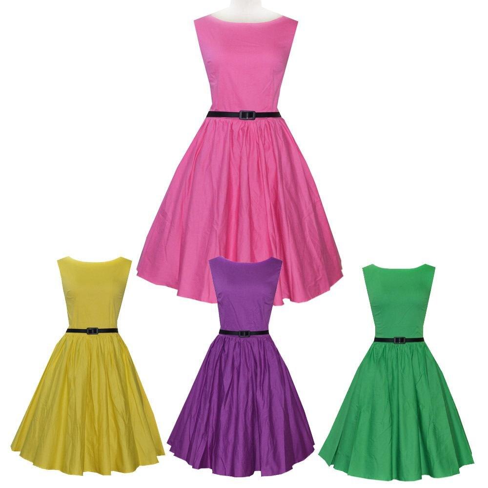 50s retro dress Audrey Hepburn rockabilly women pink dresses plus size vestidos verano mujer 2015 Vestidos