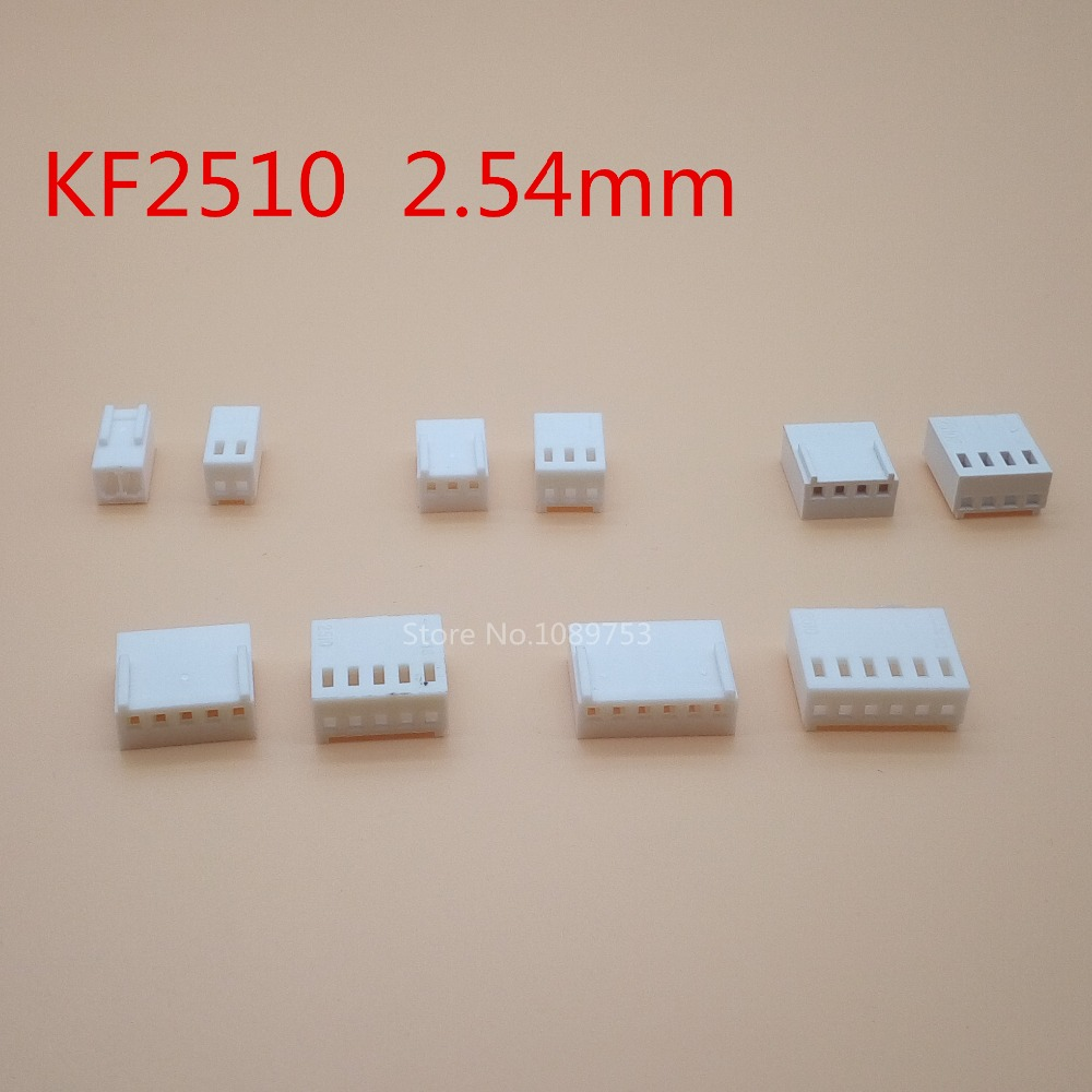 50Pcs KF2510 2/3/4/5/6 Pin 2.54mm Pitch Plastic Head Wire Cable Housing Female Pin Connectors Adaptor