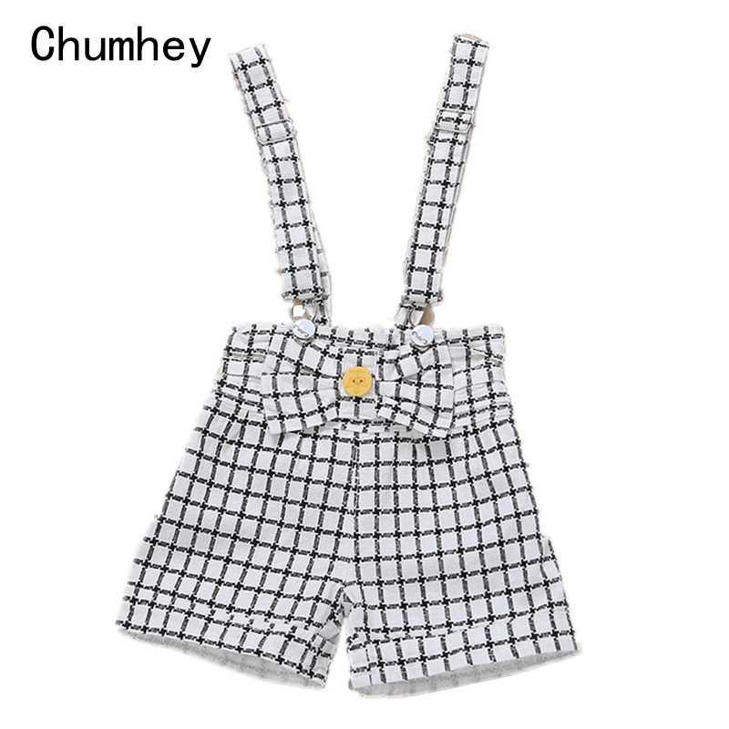 9 M-4 T Baby Sommer Overalls 100% Baumwolle Kleinkinder Strampler Babe Jungen Mädchen Shorts Kinder Plaid Overall Kinder kleidung Mit Bogen