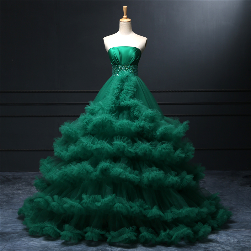 green strapless pleated beading satin top ruffle puffy tulle skirt long wedding dresschina