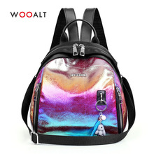 Wooalt Women Holographic Backpack Laser Daypack Bag for Teenager Fashion Small Shoulder Casual Students School Bags