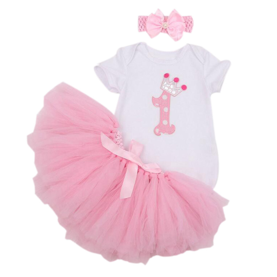 3PCs per Set Baby Girls' Pink First Crown Birthday Tutu Set Infant Romper Bubble Skirt Headband