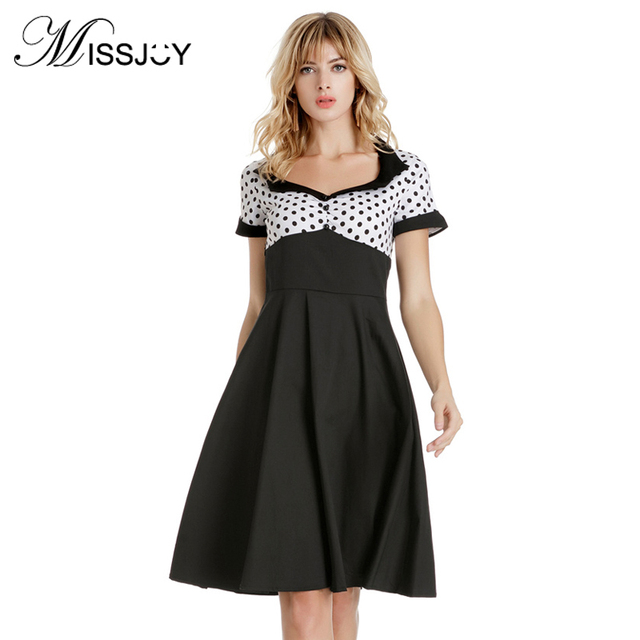 d1bc207da1 MISSJOY plus size women vintage Vestidos cute dresses Summer Short sleeve  Polka Dot Print A Line Rockabilly White Skater dress