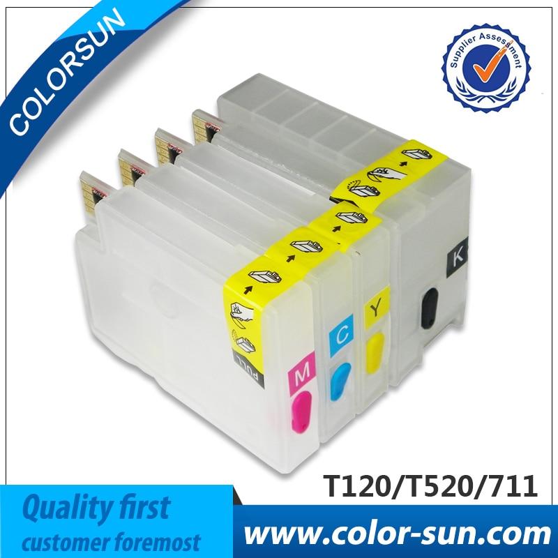 цена  For HP711 Hp 711 Empty Refillable Ink Cartridge for HP Designjet T120 T520 printer with chip  онлайн в 2017 году