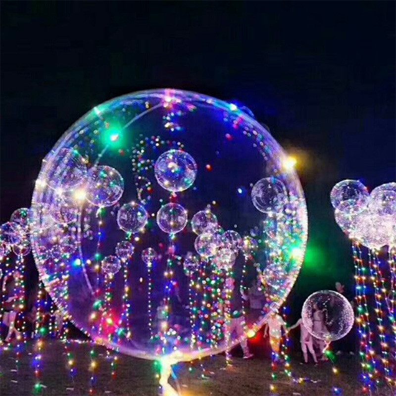 Hot Selling LED String Lights Flasher Lighting Balloon Wave 18 Inch Helium Balloons Christmas Halloween Decoration Toys For Kids