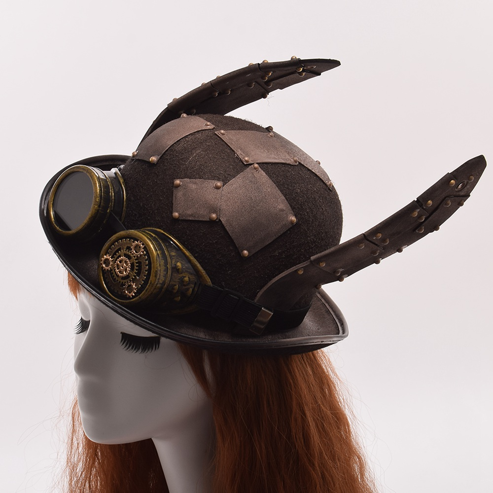 Steam Punk Hat Retro Rabbit Ears Patch Glasses Decoration Top Hat Headwear